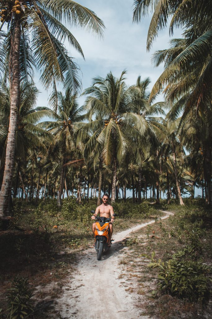 Siargao palm tree scooter ride