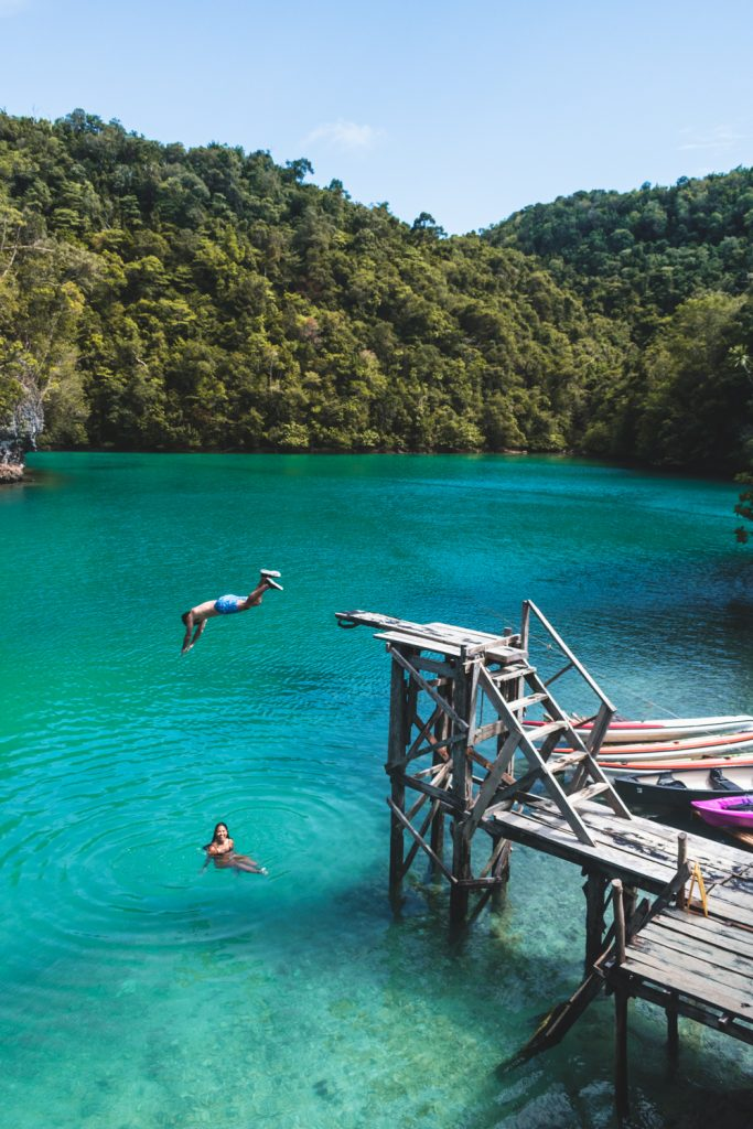 jumping into sugba lagoon on siargao